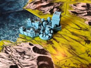 Eine Stadt der Stadtgröße 3 mit Siedlung, Festung und Hafen